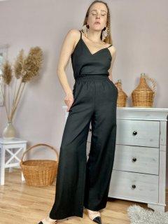 Штаны-палаццо женские черные из льна летние с карманами и поясом-резинкой размер M-L (PNT2x1)