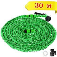 Садовий Шланг Magic Шланг для поливу з водним розпилювачем на 7 режимів 30м Зелений