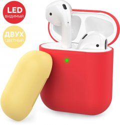 Двухцветный Силиконовый чехол AhaStyle для Apple AirPods Red yellow (AHA-01380-RRY)