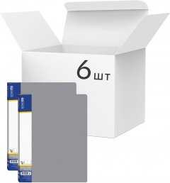 Набор папок пластиковых Economix А4 с 10 файлами Серых 6 шт (E30601-10)