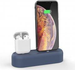 Силиконовая подставка AhaStyle 2 в 1 для Apple AirPods и iPhone Navy blue (AHA-01550-NBL)
