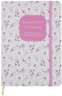 Блокнот на резинке Malevaro Красивые цветы Pink A6 клетка 96 листов (NA696002-03)