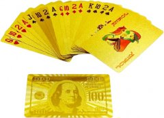 "Набор подарочный Duke 999.9 Gold Playing Cards на 1 колоду 100% пластик, рубашка ""100 Dollars"" 54 листа, золото/красный лак (11х8х4 см) (DN32376)"
