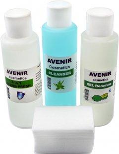 Набор жидкостей для маникюра Avenir Cosmetics Средство для снятия гель-лака + Средство для снятия липкого слоя + Скраб фреш 4в1 (4820440814342)