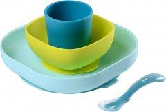 Набор: тарелка, миска, стакан и ложка Beaba Неон/Синий (913428)