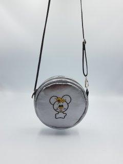Сумочка детская для девочкис вышивкой серебро круглая. Forsa.