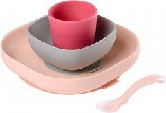 Набор: тарелка, миска, стакан и ложка Beaba Розовый/Серый (913429)