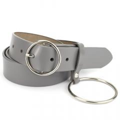 Ремень женский кожаный серый с кольцом PS-3534 grey (110 см)