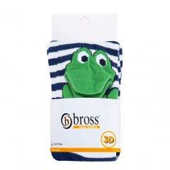 Колготи дитячі BROSS 3D жаба 86-92 см 1-3 роки Сині у смужку