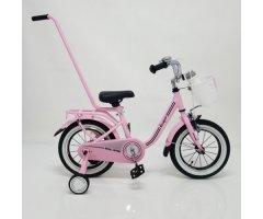 Велосипед дитячий Casper 14 рожевий з кошиком і батьківською ручкою