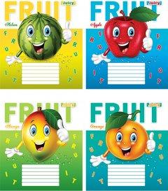 Набор тетрадей ученических Мрії збуваються Смешные фрукты В5 клетка 12 листов на скобе уплотненная картонная обложка 4 дизайна 20 шт (ТА5.1211.2565к)
