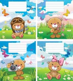 Набор тетрадей ученических Мрії збуваються Мишка на поляне В5 косая линия 12 листов на скобе уплотненная картонная обложка 4 дизайна 20 шт (ТА5.1221.2801с)