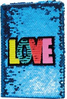 Блокнот Maxi с пайетками А5 80 листов Love (MX26206)