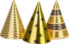 Набор Maxi 6 фольгированных колпаков на голову на резинке высота 15.24 см Gold&Silver (MX200005)