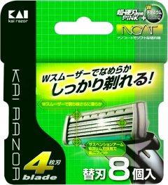 Запасные лезвия для мужского станка для бритья Kai с 4мя лезвиями 8 шт (4901331017179)