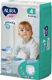 Трусики одноразовые для детей Aura Baby 4 L 9-14 кг jambo-pack 43 шт (4752171005099)