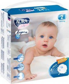 Подгузники одноразовые для детей AURA baby 2/S 3-6 кг mega-pack 70 шт (4752171003279)