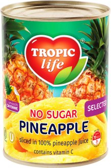Ананас кольцами Tropic Life в собственном соку без сахара 580 мл (5060235650376)