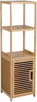 Шкаф для ванной комнаты Axentia бамбуковый с полками МДФ 33x115x33 см (133117)