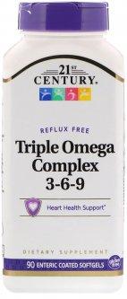 Жирные кислоты 21st Century тройной комплекс Омега 3-6-9 90 гелевых капсул (740985228746)