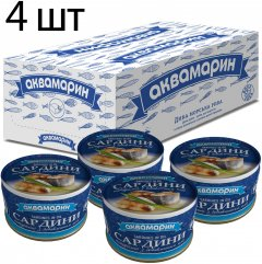 Упаковка натуральных сардин с добавлением масла Аквамарин 230 г х 4 шт (4820183774422)