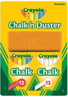 Набор мела Crayola 24 шт с щеткой для стирания (256418.012) (5010065982680)