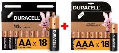Набор щелочных батареек Duracell AA (LR06) MN1500 18 шт + AAA (LR03) MN2400 18 шт (737055737056)