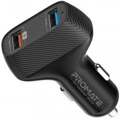 Автомобильное зарядное устройство Promate DriveGear-30W USB QC 3.0 + USB 2.4A Black (drivegear-30w.black)
