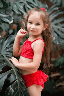 Купальник для дівчаток для танців і спорту Borodina Antonina 114-128 червоний (0668)