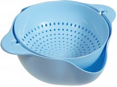 Двойной дуршлаг Supretto для мытья и просушивания фруктов Голубой (5754-0004)