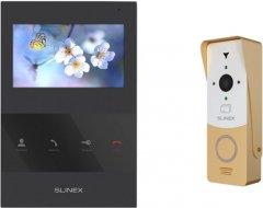 Комплект видеодомофона Slinex SQ-04 Black + Вызывная панель ML-20CR White/Gold (SQ-04 Black+ML-20CR)