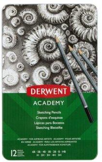 Набор чернографитных карандашей Derwent Academy Sketching металлический пенал 12 шт 6B-5H (2301946)