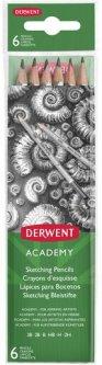 Набор чернографитных карандашей Derwent Academy Sketching 6 шт 2H-3B (2300086)