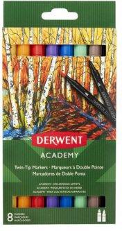 Набор цветных маркеров с двойным наконечником Derwent Academy Twin-Tip 8 штук (98206)