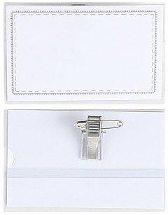 Набор бейджей KLERK горизонтальный на заколке + клип 58 x 90 мм 50 шт Прозрачный (Я19769_KL1203)
