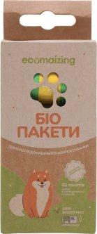 Биоразлагаемые пакеты Ecomaizing для уборки за животными 4 рулона 60 пакетов (4820253430012)