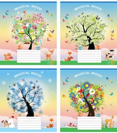 Набор тетрадей ученических Мрії збуваються Волшебное дерево B5 косая линия 12 листов на скобе картонная обложка 4 дизайна 20 шт (ТА5.1221.3081с)