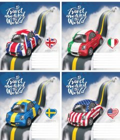 Набор тетрадей ученических Мрії збуваються Автомобили B5 косая линия 12 листов на скобе картонная обложка 4 дизайна 20 шт (ТА5.1221.3171с)