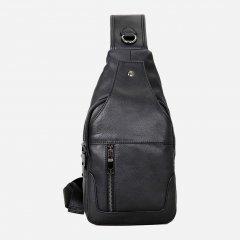 Мужская кожаная сумка-слинг Vintage 14414 Черная