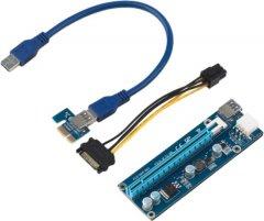 Райзер Voltronic PCI-EX, x1=>x16, 6-pin, SATA=>6Pin, USB 3.0 AM-AM 0.6 м Синий (PCE164P-N03 VER 006C)