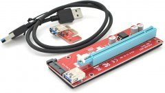Райзер Voltronic PCI-Ex x1 to x16, SATA, USB 0.6 м Красный (PCE164P-N03 VER 007S)
