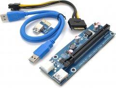 Райзер Voltronic PCI-EX, x1=>x16, 6-pin, SATA=>6Pin, USB 3.0 AM-AM 0.6 м Синий (VER 009S/270)