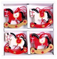 Набор елочных игрушек Jumi Конек 4 шт белый / красный (5900410493988)