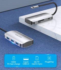 Док-станция Vention Hub 6-in-1 USB 3.1 Type-C - USB 3.0x3/SD/TF/PD 100W (TNHHB)