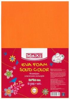 Набор фоамирана Maxi 2 мм 20 х 30 см Оранжевого 5 шт (MX61619-06)