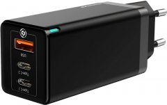 Зарядное устройство Baseus GaN Travel C+C+A 65W Black (CCGAN-B01)