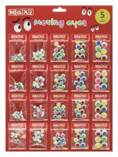 Набор самоклеящихся пластиковых глаз Maxi ПВХ цветные 20 шт (MX61604-02)