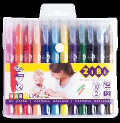 Пастель масляная шелковая ZiBi Jumbo Baby Line с акварельным эффектом 12 цветов (10 стандарт + 2 металик) (ZB.2497)