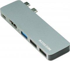 USB-хаб Mission Aluminum Mini Dual Type-C + USB-A + HDMI для Macbook Pro и Air Space Gray (MSH-Hub5)
