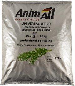Наполнитель универсальный для котов, грызунов и птиц AnimAll Древесный впитывающий 10 кг + 2 кг в подарок (32 литра) (4820224500140/2000981059026)